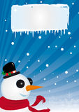 Snowman in winter. A poster with a snowman for your advertising Stock Photo