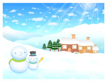 Snowman in winter background designs Royalty Free Stock Image