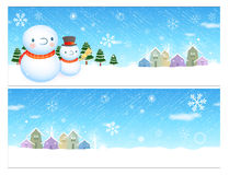 Snowman in winter background designs Stock Photo