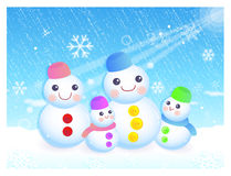 Snowman in winter background designs Royalty Free Stock Images