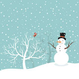 Snowman in winter Stock Images