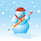 Snowman - winter break card Royalty Free Stock Image