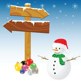 Snowman and winter color vector Royalty Free Stock Photo