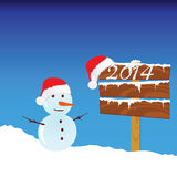 Snowman winter with 2014 color vector vector illustration
