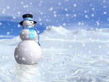 Snowman by winter - 3D render Stock Photography