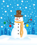 Snowman in winter field Royalty Free Stock Photo