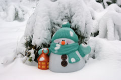 Snowman. In the winter forest Royalty Free Stock Photography