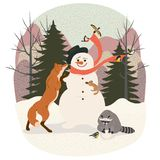 Snowman in the winter forest stock illustration