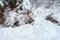 Snowman in the winter forest on a cold snow day, active holidays, healthy lifestyle. Inconspicuous white Snowman in the winter forest covered with snow, cold royalty free stock photos