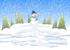 Snowman with a winter forest with snow drifts. Winter landscape with trees and snowman. Winter background with a snowman Royalty Free Stock Image