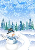 Snowman with a winter forest with snow drifts. Winter landscape with trees and snowman. Winter background with a snowman Royalty Free Stock Photos