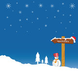 Snowman and winter idyll color vector Royalty Free Stock Photography