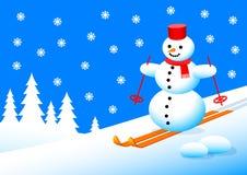 Snowman in winter landscape Royalty Free Stock Photo