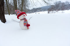 Snowman in winter landscape Royalty Free Stock Photo