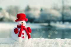 Snowman and winter landscape Royalty Free Stock Photo