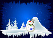 Snowman and winter landscape Stock Photography
