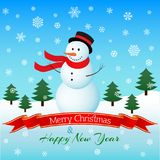 Snowman on winter landscape. Christmas card. Vector illustration. Royalty Free Stock Photo