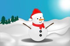 Snowman and winter landscape illustration vector illustration