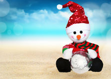 Snowman and winter landscape Royalty Free Stock Photography