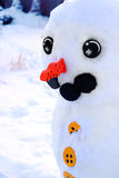 Snowman In Winter Made of Snow Eyes Carrot Nose Wintertime Stock Photos