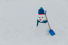 Snowman in winter nature Royalty Free Stock Image