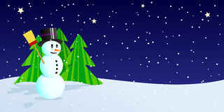 Snowman at winter night Stock Photos