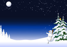 Snowman in a winter night Stock Image