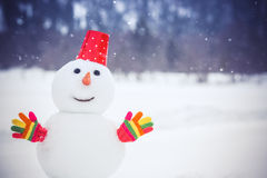 Snowman in winter park Stock Photo