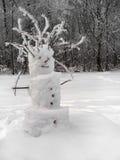 Snowman in winter scene Royalty Free Stock Photo
