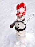 Snowman in winter scene Royalty Free Stock Photos