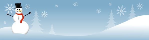 Snowman Winter Scene 2. An illustration featuring a winter scene with snowman sitting in the snow and snowflakes Royalty Free Stock Image