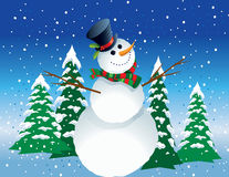 Snowman Winter Scene Royalty Free Stock Images