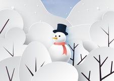 Snowman and winter season landscape background stock photos