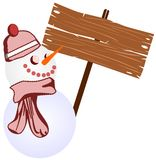 Snowman with winter signal Stock Photos