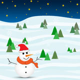 Snowman. Winter snow christmas cartoon Stock Image