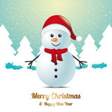 Snowman winter snow landscape blue white Royalty Free Stock Photo