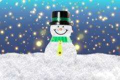 Snowman in winter snow landscape for card or background Stock Image