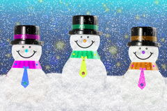 Snowman in winter snow landscape for card or background Stock Photo