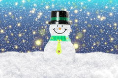Snowman in winter snow landscape for card or background Stock Photos
