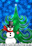 Snowman in Winter Snow Scene. Snowman with Red Scarf and Ornament in Winter Snow Scene with Christmas Tree and Snowflakes Illustration Stock Photo