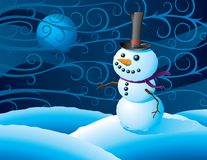 Snowman in a winter storm Royalty Free Stock Image