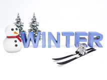 Snowman and winter text. vacation concept on white background Royalty Free Stock Photos