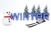 Snowman and winter text. vacation concept on white background Stock Photography