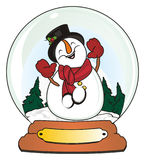 Snowman and winter time in snow ball Stock Photos