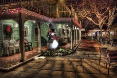 Snowman, Winter, Town, Urban Stock Image