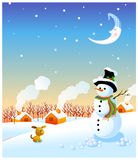 Snowman and winter. The view of snowman and winter landscape Stock Images