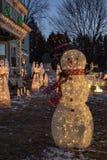 Snowman in a winter wonderland royalty free stock photos