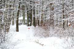 Snowman in the winter wood Stock Photography