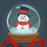 Snowman Wish Glass Ball Greeting Card Happy New Year Merry Christmas Decoration Stock Photos