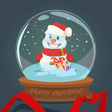 Snowman Wish Glass Ball Greeting Card Happy New Year Merry Christmas Decoration Stock Photography
